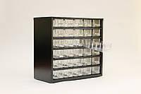 Органайзер К30 чёрный, кассетница, сортовик, ящик, ячейка для мелочей, деталей, метизов, бисера, фото 1