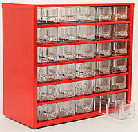 Органайзер К30 красный, кассетница, сортовик, ящик, ячейка для мелочей, деталей, метизов, бисера, фото 1