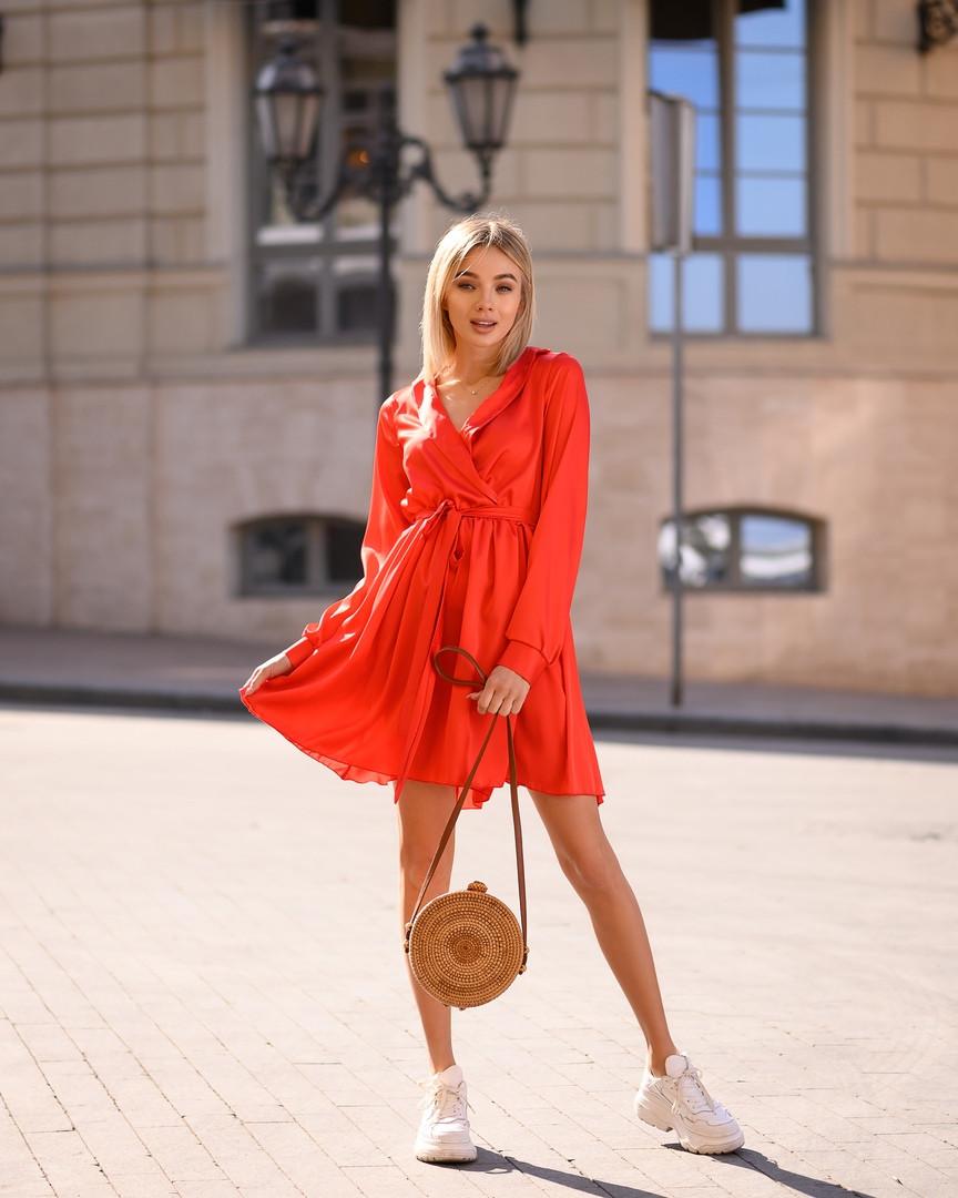 Красное платье мини короткое женское универсальное однотонное