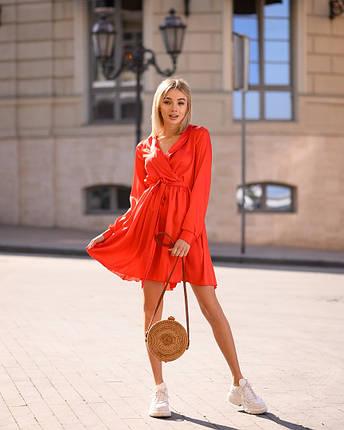 Красное платье мини короткое женское универсальное однотонное, фото 2