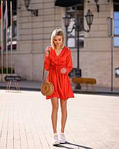 Красное платье мини короткое женское универсальное однотонное, фото 3