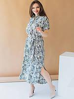 Длинное батальное платье-рубашка с воротником размеры 52, 54