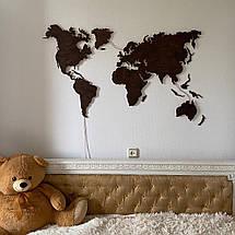 Деревянная карта Мира с LED подсветкой 100х60 см, фото 2