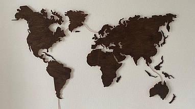 Деревянная карта Мира с LED подсветкой 100х60 см, фото 3