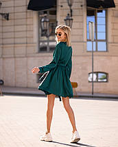 Изумрудное платье мини короткое женское универсальное однотонное, фото 3