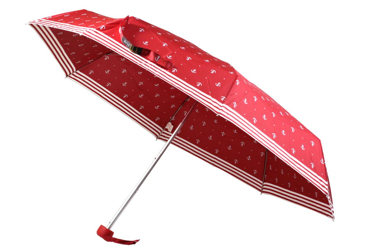 Легкий маленький кишеньковий складаний жіночий парасольку механічний на 8 спиць колір червоний з малюнком якір
