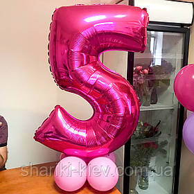 Цифра 5 розовая с Гелием