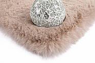 Однотонный очень мягкий ковёр ручной работы, имитирующий мех кролика Rabbit, бежевый, фото 3