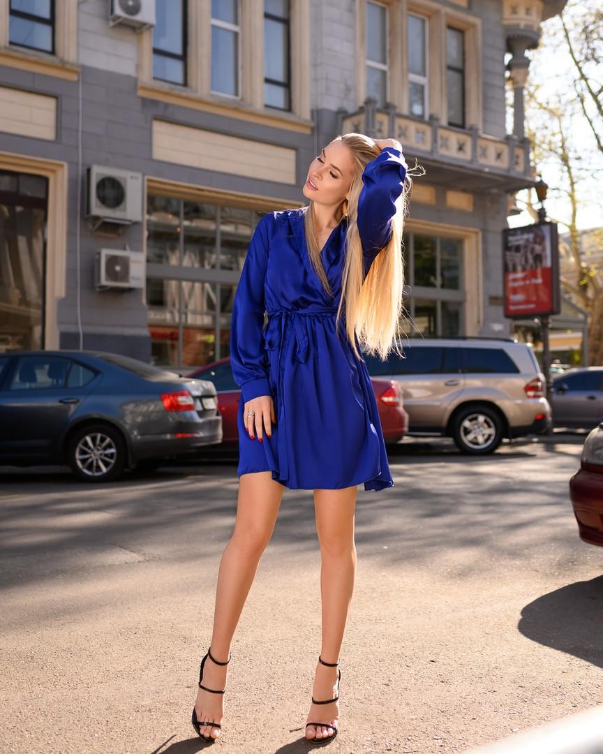 Синие платье женское мини короткое женское универсальное однотонное