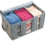 Органайзер для зберігання одягу і взуття (на 3 секції), складний бамбуковий органайзер-кофр для речей, фото 4