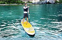 Доска для SUP серфинга BESTWAY SUP-БОРД 65329 Бело-желтый (320-76-15 см) | Надувная доска для серфинга САП