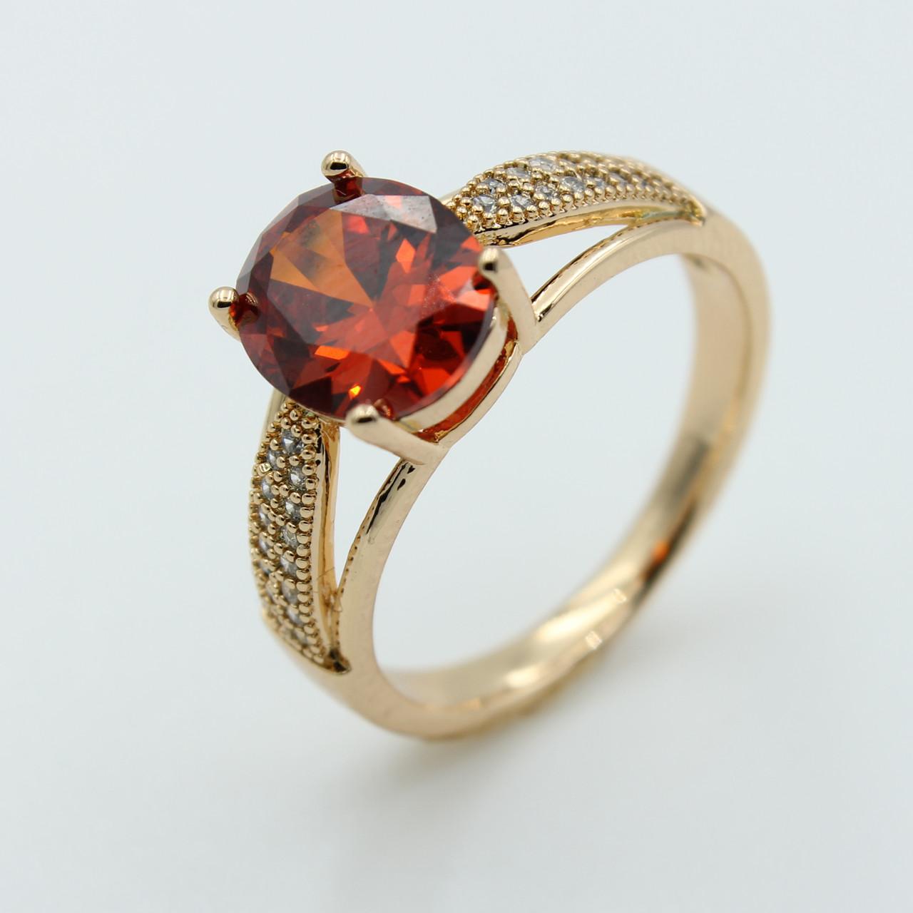 Женские кольца с камнем, позолота