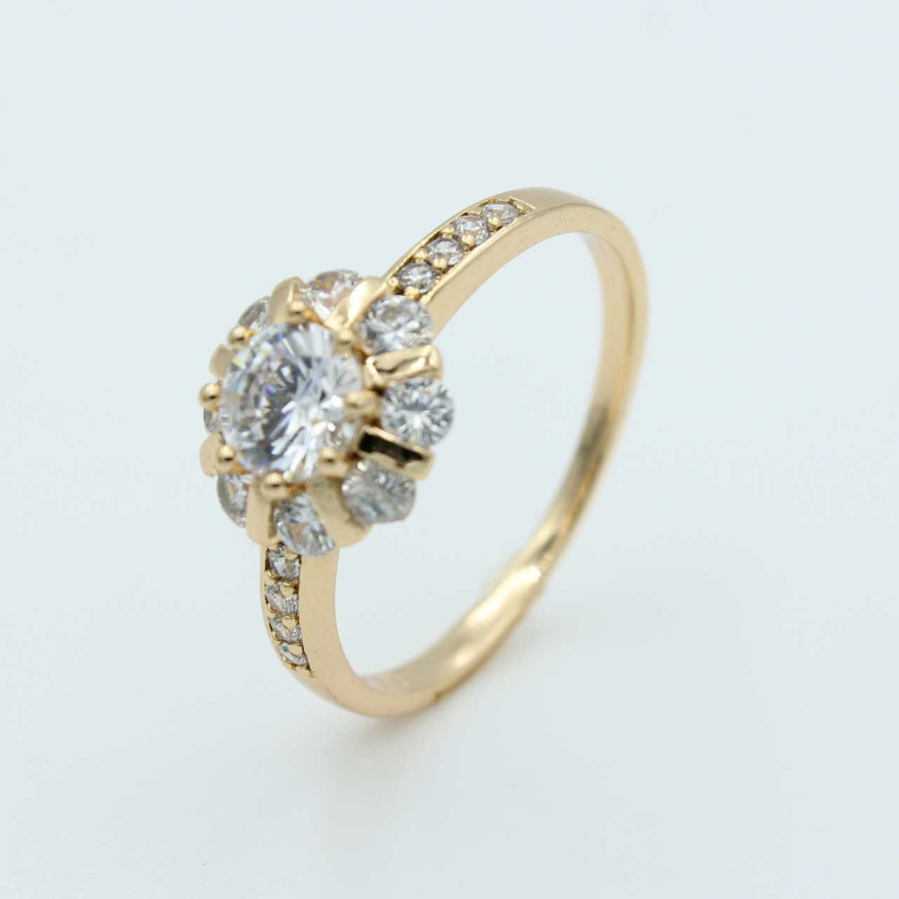 Кольцо женское с камнями Ромашка, позолота