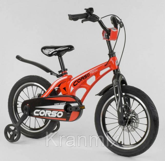 """Детский облегченный велосипед Corso Magnesium 18"""" стальная  вилка КРАСНЫЙ"""