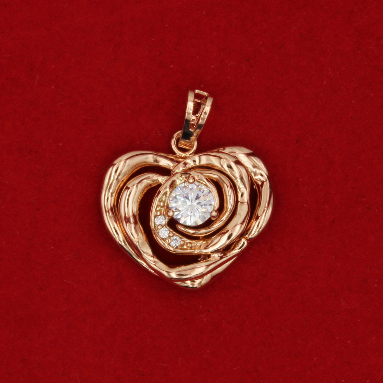 Кулон женский Сердце, позолота, циркон 25мм