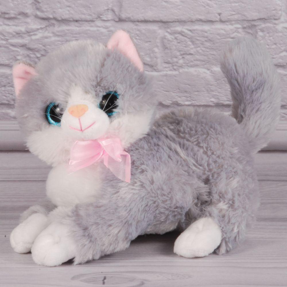 Мягкая игрушка котенок с бантиком серый