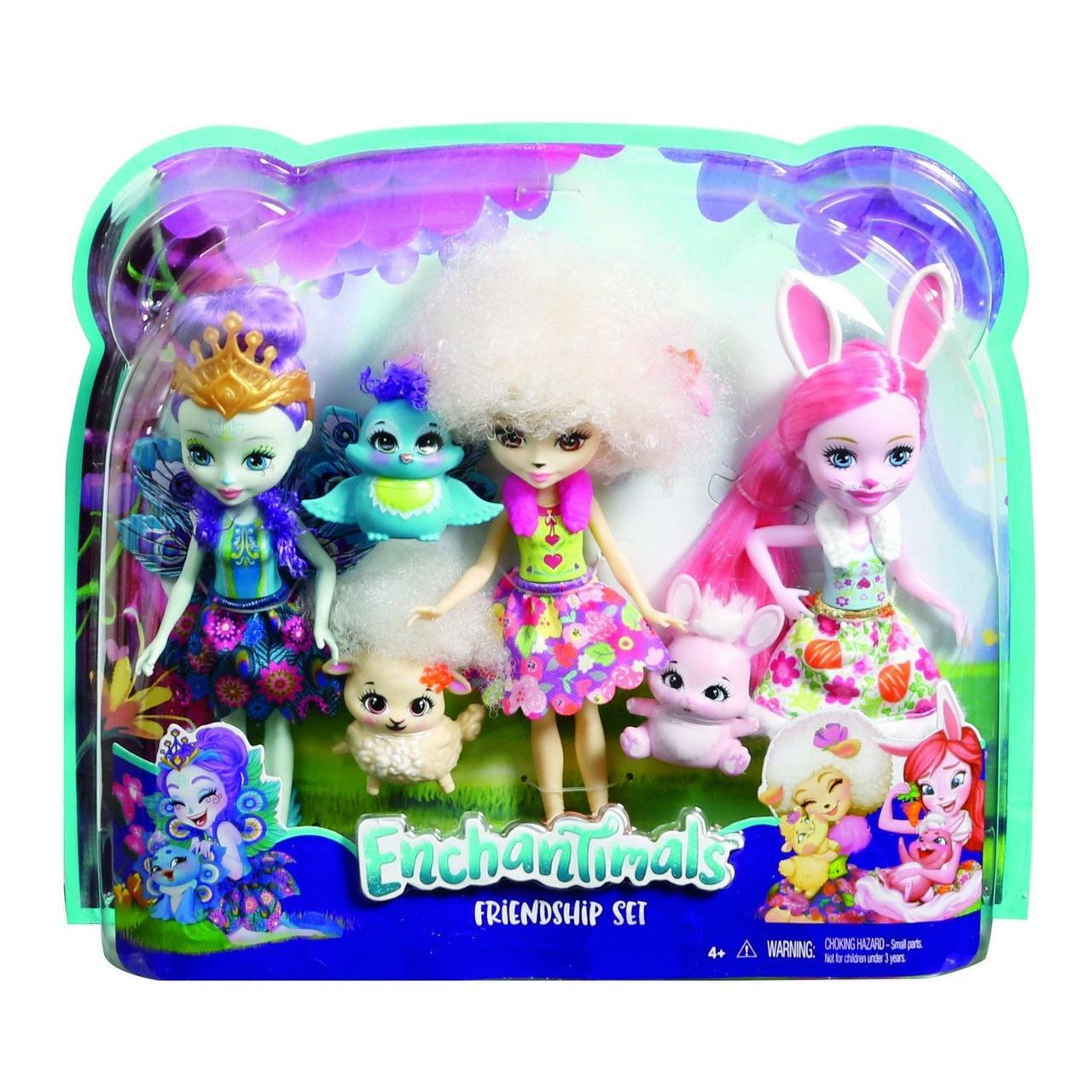 Набір ляльок Enchantimals Энчантималс Кращі подруги і їхні вихованці Кролик Павич Овечка FMG18