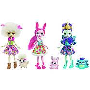 Набір ляльок Enchantimals Энчантималс Кращі подруги і їхні вихованці Кролик Павич Овечка FMG18, фото 3