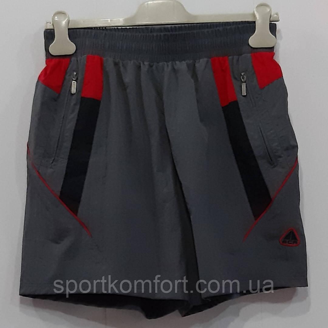 Прогулочные шорты из мягкой плащёвки, серые с красной отделкой, SOCCER, размер s.