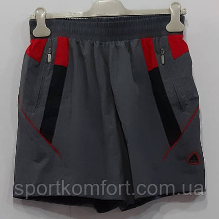 Прогулочные шорты из мягкой плащёвки, серые с красной отделкой, SOCCER, размер s., фото 2