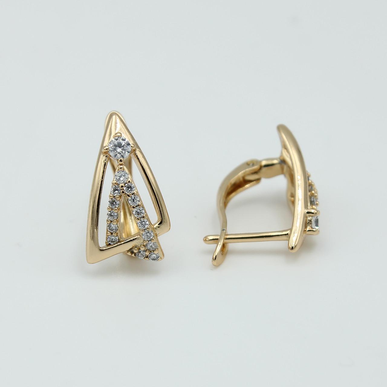 Сережки Xuping Трикутники з камінцями
