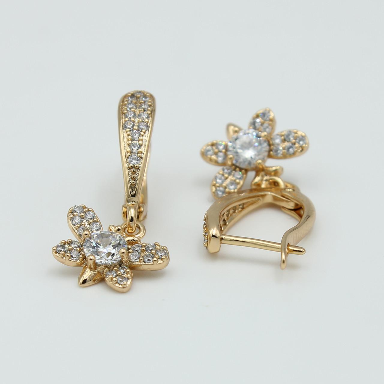 Сережки Xuping Метелики із каменями циркон