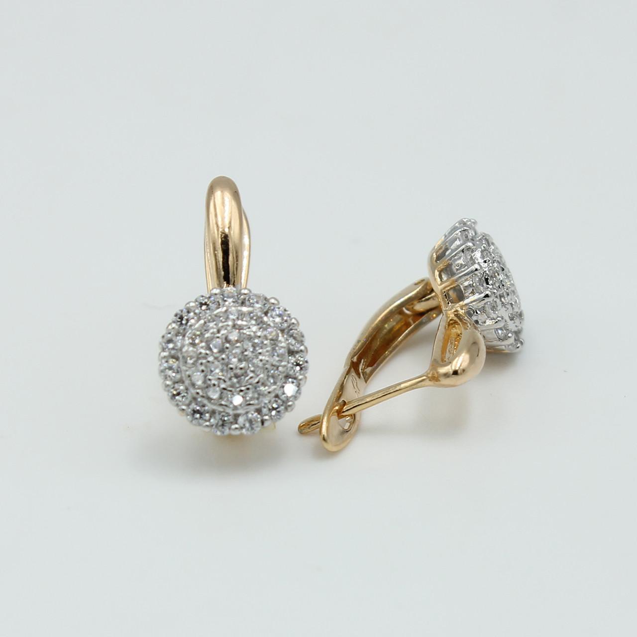 Сережки Круги із каменем циркон, позолота