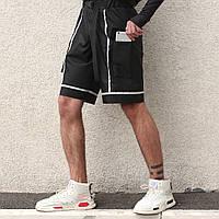 """Молодіжні чоловічі подовжені шорти """"Кейбл"""" чорні зі світловідбиваючими стрічками"""
