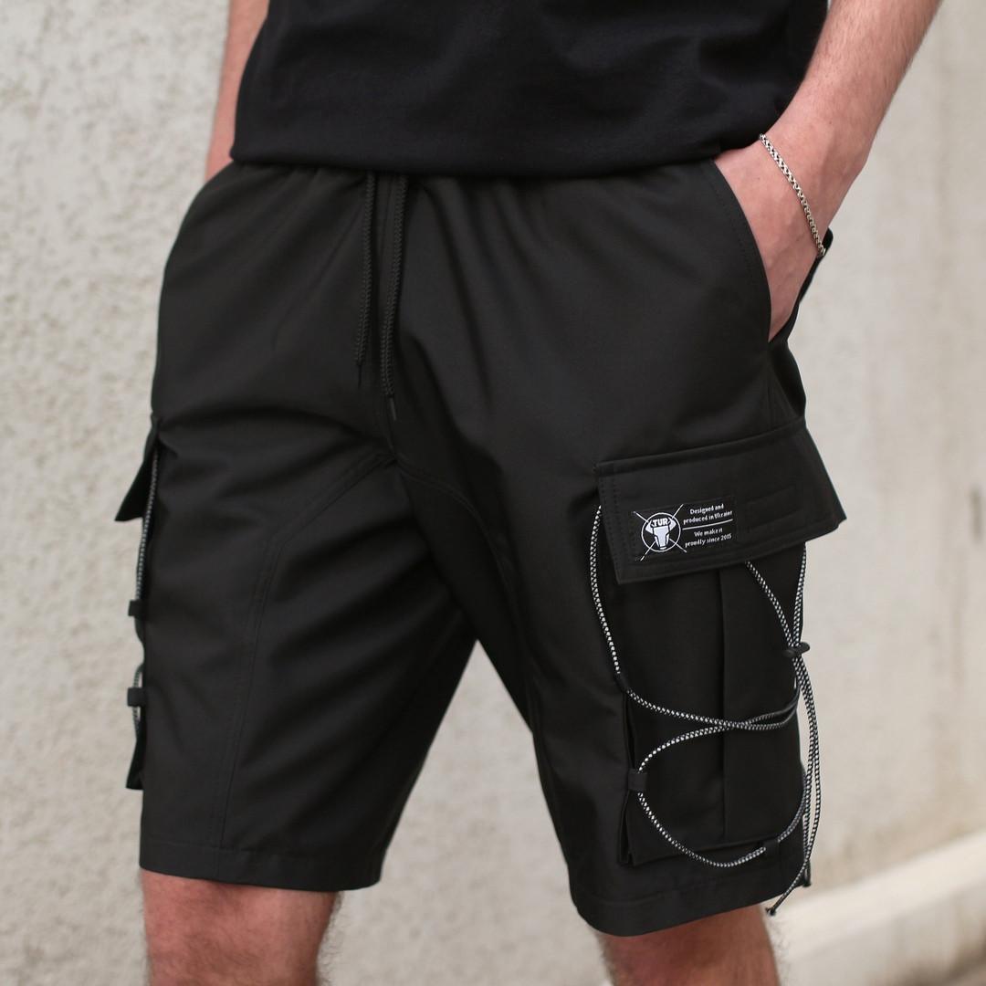 """Длинные мужские летние шорты """"Масон"""" с накладными карманами черные"""