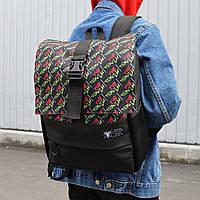 """Модний молодіжний повсякденний рюкзак """"Пілігрим"""" чорний з написами"""