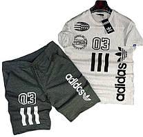 Комплект мужской  футболка и шорты Adidas серый (Размер L)