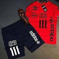 Комплект мужской  футболка и шорты Adidas красный