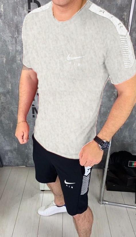 Комплект мужской  футболка и шорты Nike серый