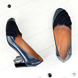 """Туфли синие кожаные женские с замшевыми вставками на каблуке. ТМ """"Maestro"""", фото 2"""