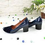 """Туфли синие кожаные женские с замшевыми вставками на каблуке. ТМ """"Maestro"""", фото 3"""