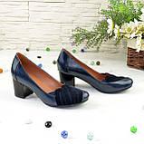 """Туфли синие кожаные женские с замшевыми вставками на каблуке. ТМ """"Maestro"""", фото 4"""