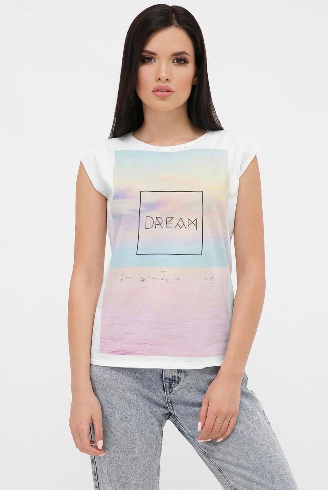 Жіноча футболка без рукавів з кольоровим принтом 50