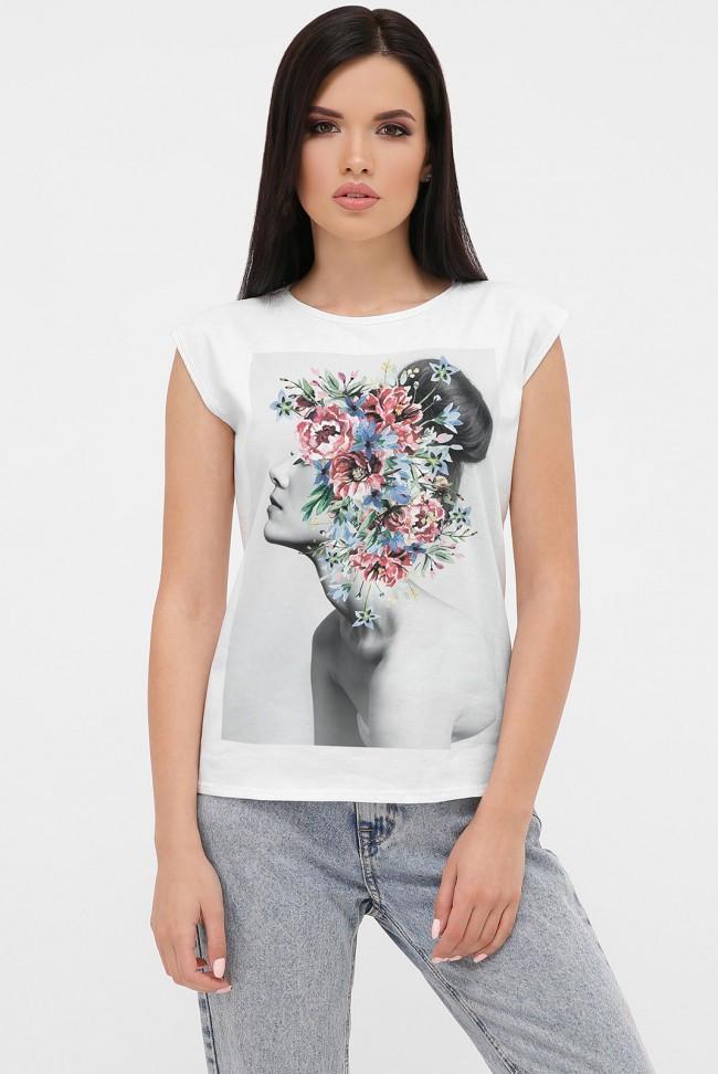Жіноча футболка без рукавів принт дівчина з квітами