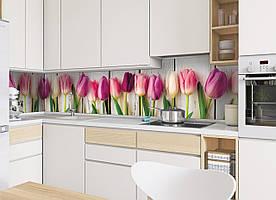 """Скинали на кухню Zatarga""""Тюльпаны"""" 650х2500 мм розовый виниловая 3Д наклейка кухонный фартук самоклеящаяся"""