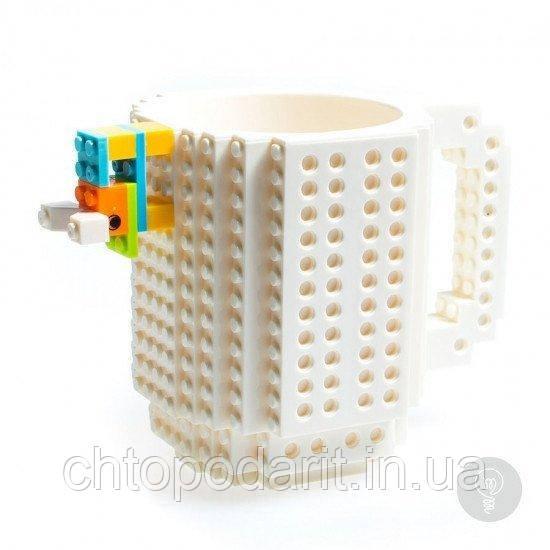Кружка Лего Lego чашка конструктор 350мл BUILD-ON BRICK MUG Minecraft белая Код 13-0509