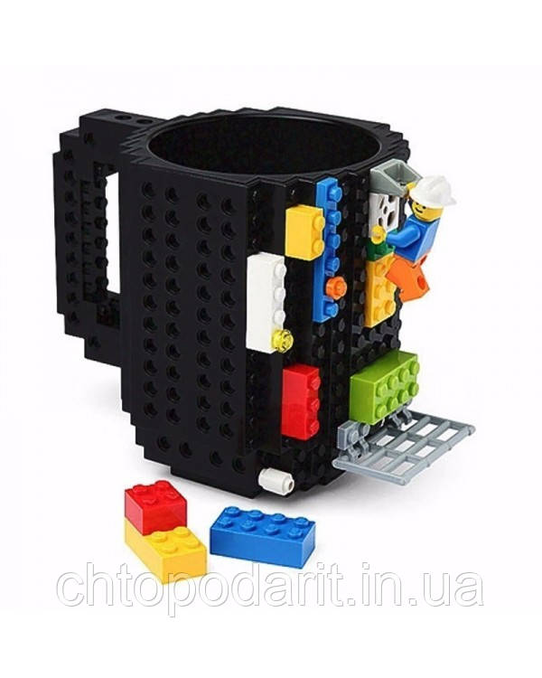 Кружка Лего Lego чашка конструктор 350мл BUILD-ON BRICK MUG Minecraft черная Код 13-0580