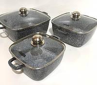 Набор кастрюль с мраморным покрытие, прямоугольной формы Benson BN-331 Стеклянные крышки, 6 предметов
