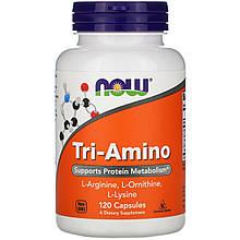 """Комплекс амінокислот NOW Foods """"Tri-Amino"""" для підтримання білкового обміну (120 капсул)"""
