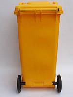 Бак для мусора  пластиковый 120л, желтый 120A-9Y, фото 3