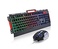 Комп'ютерна ігрова клавіатура RIAS K33 з підсвічуванням і Мишкою Black
