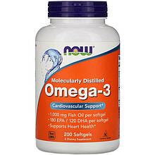 """Рыбий жир NOW Foods """"Omega-3"""" поддержка сердечно-сосудистой системы, 1000 мг (200 капсул)"""