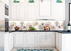 """Скинали на кухню Zatarga""""Цветы вишни"""" 650х2500 мм белый виниловая 3Д наклейка кухонный фартук самоклеящаяся"""