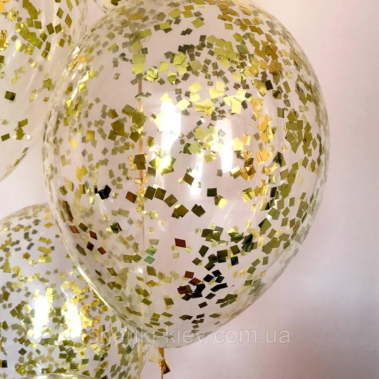 Шарики гелиевые прозрачные с конфетти 35 см. на День рождения гелиевые