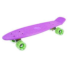 """Детская доска для катания """"GO Travel"""" фиолетовая, зеленые прозрачные колеса 56 см"""
