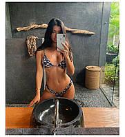 Красивый утонченный коричневый леопардовый купальник с чашками на завязках S, М, L